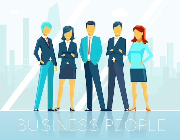 Ludzie biznesu. praca zespołowa i osoba, komunikacja w zespole, seminarium dyskusyjne, ilustracja wektorowa