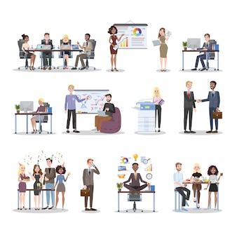 Ludzie biznesu pracują w zestawie biurowym. praca zespołowa