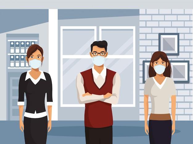 Ludzie biznesu pracujący i noszący maski medyczne
