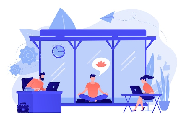 Ludzie biznesu pracujący na laptopach w biurze z miejscem do medytacji i relaksu. pokój do medytacji w biurze, kapsuła medytacyjna, koncepcja relaksującego miejsca w biurze. różowawy koralowy bluevector ilustracja na białym tle