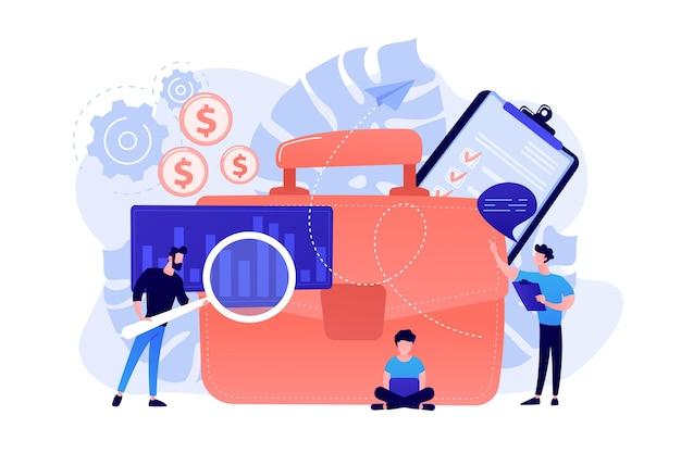 Ludzie biznesu pracujący na planie z lupą i laptopem. biznesplan, analiza rynku i koncepcja celów biznesowych na białym tle.