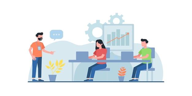 Ludzie biznesu pracujący na płaskiej ilustracji może być używany do szablonów projektowania stron internetowych, spotykających się online