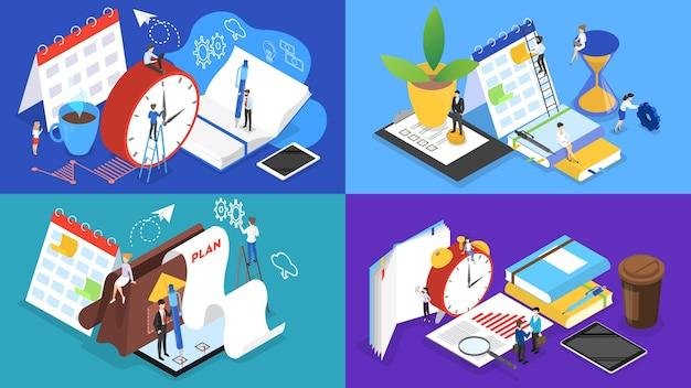 Ludzie biznesu pracujący w zespole i planujący pracę. koncepcja zarządzania czasem. tworzenie harmonogramu tygodniowego. izometryczne ilustracji wektorowych