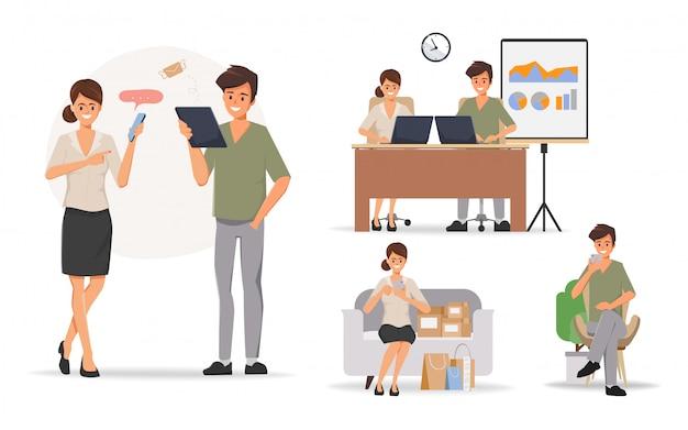 Ludzie biznesu pracy zespołowej biurowy charakter z kolegą