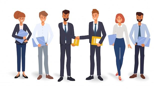 Ludzie biznesu pracy zespołowej pojęcia tła ludzie. płaska konstrukcja ilustracji wektorowych.