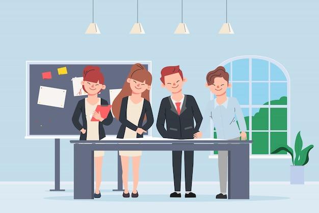 Ludzie biznesu pracy zespołowej znaków biurowych. spotkanie seminaryjne kolegi.