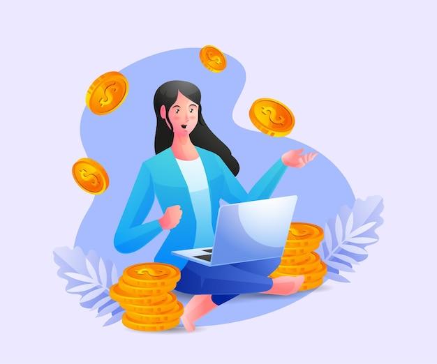 Ludzie biznesu relaksują się w pracy i zarabiają dużo pieniędzy