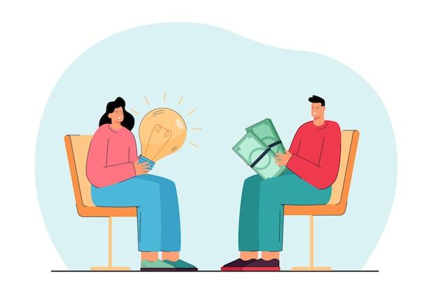 Ludzie biznesu siedzą na krzesłach wymieniając pieniądze i pomysły. mężczyzna z banknotami, kobieta z płaską ilustracją żarówki