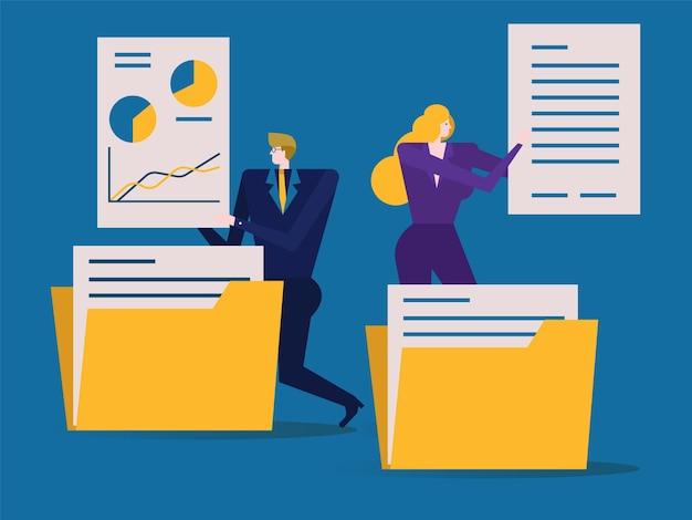 Ludzie biznesu składają i sortują dokumenty lub foldery. płaskie elementy