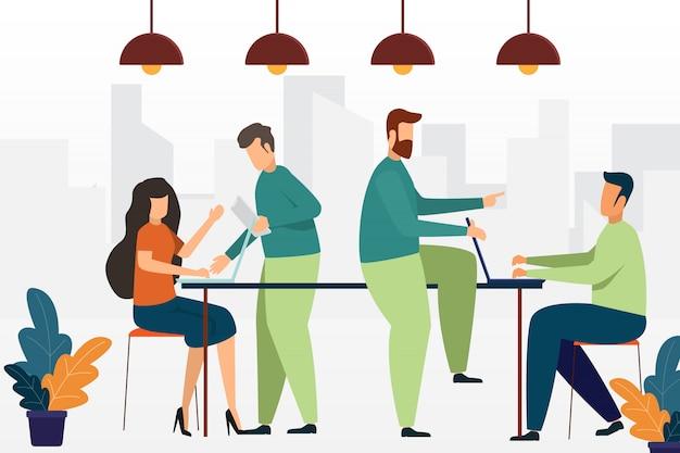 Ludzie biznesu spotykają się w dyskusji i pracują razem