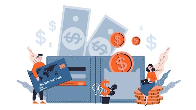 Ludzie biznesu stojąc z pieniędzmi wokół. kupie złote monety. bogactwo finansowe i metafora sukcesu. oszczędności pieniędzy. ilustracja