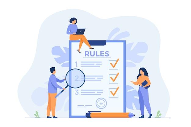Ludzie biznesu studiują listę zasad, czytają wskazówki, robią listę kontrolną.