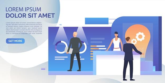Ludzie biznesu studiuje izometryczną sprzedaż stoi szablon transparent