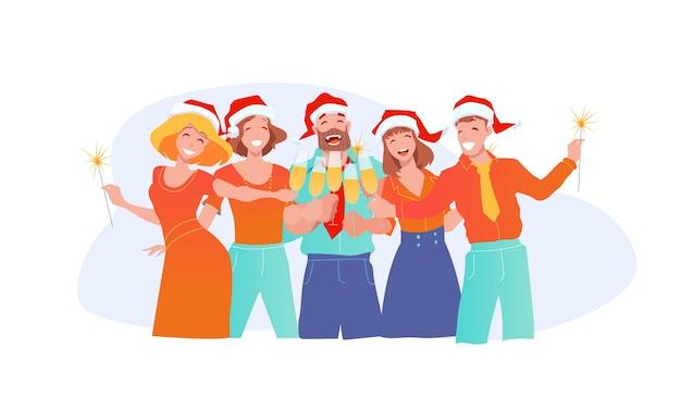 Ludzie biznesu świętują nowy rok i święta bożego narodzenia