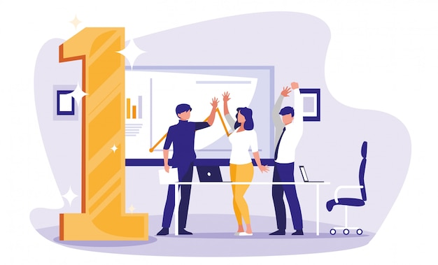 Ludzie biznesu świętują w miejscu pracy z numerem jeden