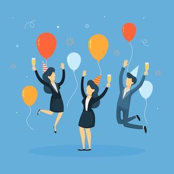 Ludzie biznesu świętują z balonami i konfetti.