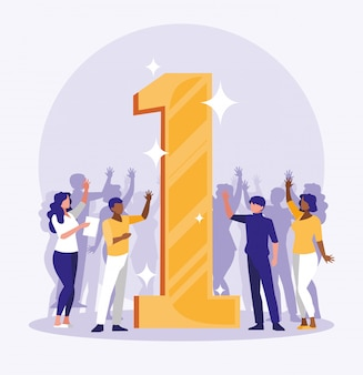 Ludzie biznesu świętuje z numerem jeden