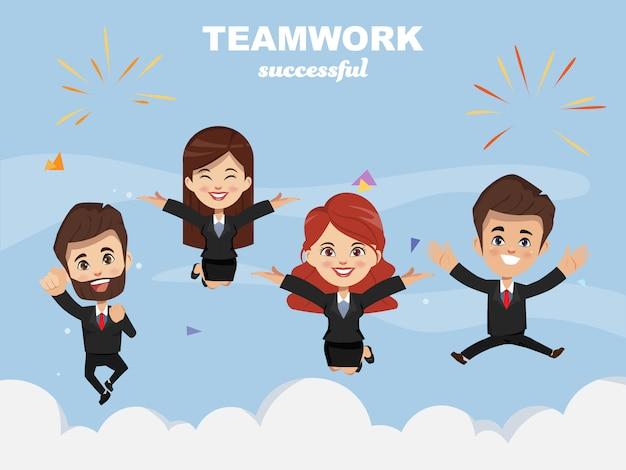 ฺ ludzie biznesu szczęśliwi i skaczący do sukcesu.