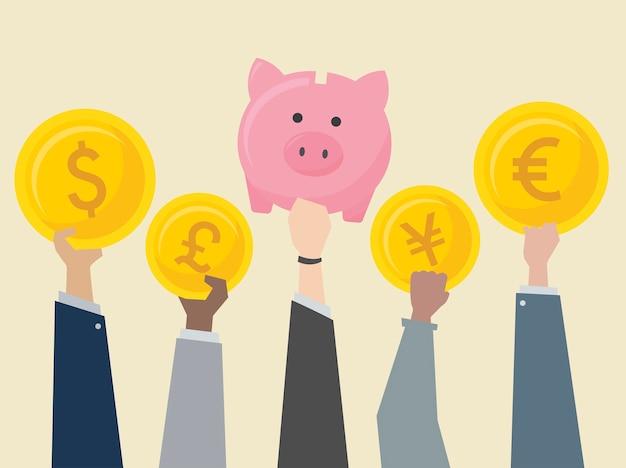 Ludzie biznesu trzyma waluty ilustracyjne