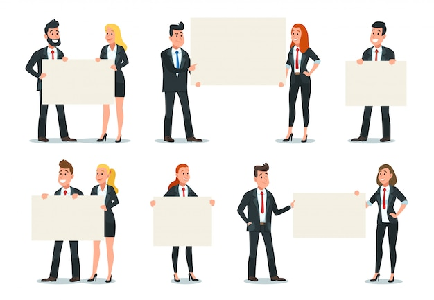 Ludzie biznesu, trzymając transparent. biznesmena chwyta pusty plakat, urzędnik prezentaci signboard znaka ilustraci set