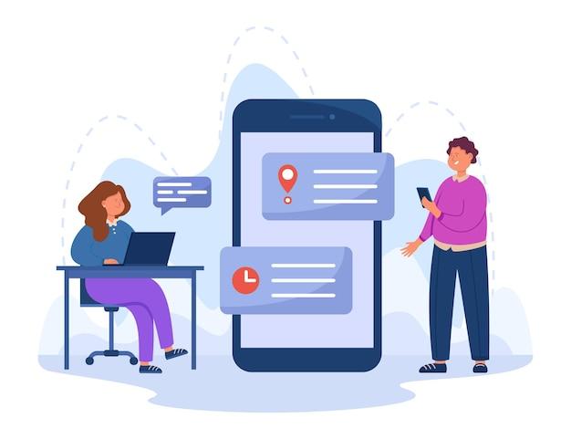 Ludzie biznesu umawiają się na spotkanie w aplikacji do rezerwacji cyfrowych