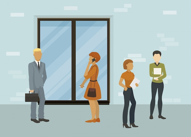 Ludzie biznesu, urzędnicy lub osoby poszukujące pracy mężczyzna i kobiety stoi przed zamkniętą drzwiową ilustracją. oczekiwanie na rozmowę kwalifikacyjną lub spotkanie biznesowe.