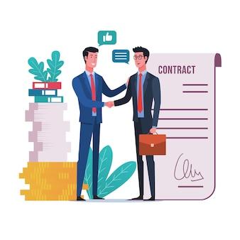 Ludzie biznesu uścisk dłoni po podpisaniu umowy kontraktowej