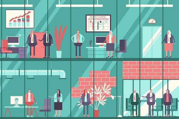 Ludzie biznesu w biurowcu. wektor kreskówka płaski pracujący mężczyzna i kobieta postać w oknie. biznesmen ilustracja koncepcja pracy.