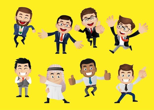 Ludzie biznesu w celebracji zwycięstwa i pozach osiągnięć