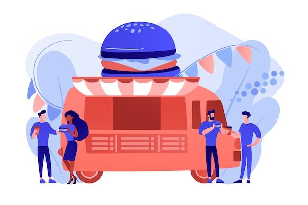 Ludzie biznesu w ciężarówce z hamburgerem, jedzenie fast food i picie kawy. uliczny festiwal żywności, lokalna sieć żywności, koncepcja festiwalu kuchni światowej. różowawy koralowy bluevector ilustracja na białym tle