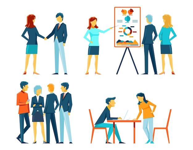 Ludzie biznesu w różnych pozach. pracownik biurowy, kierownik i biznesmen, pokaz pracy i spotkanie