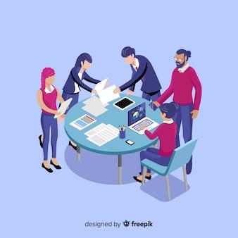 Ludzie biznesu w spotkaniu izometryczny