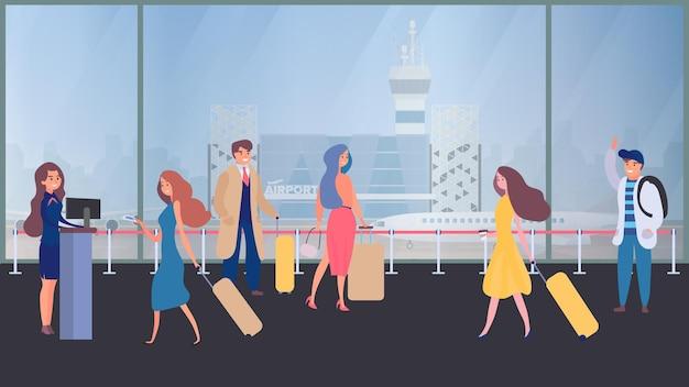 Ludzie biznesu w terminalu lotniska, kontrola bezpieczeństwa, punkt kontrolny, ochrona, bramka bezpieczeństwa, ochrona lotniska, ilustracja podróży służbowych