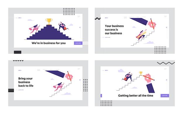 Ludzie biznesu, wchodzenie po schodach do zestawu strony docelowej sukcesu koncepcji
