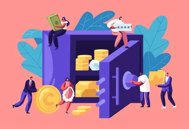 Ludzie biznesu wokół sejfu banku pełnego pieniędzy i biżuterii