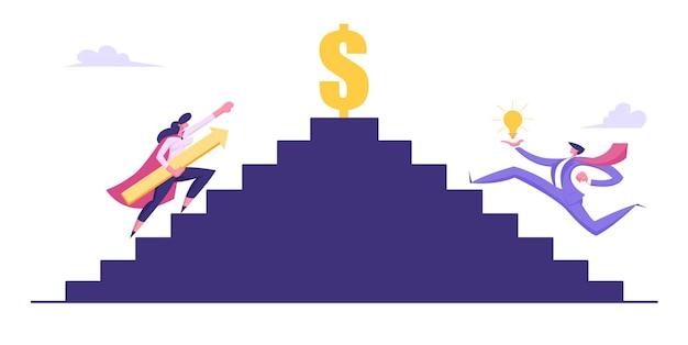 Ludzie biznesu, wspinaczka na górę do pieniędzy i ilustracji sukcesu