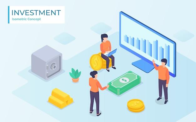 Ludzie biznesu współpracują i rozwijają udaną mapę finansową z kiełkującymi roślinami: koncepcja inwestycji i finansów