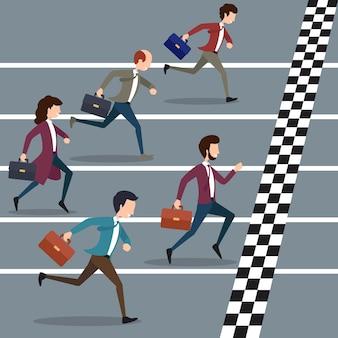 Ludzie biznesu wygrywający maraton. sport biznesowy, zawody w maratonie sukcesu, cel biznesowy