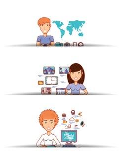 Ludzie biznesu z ikonami mediów społecznych