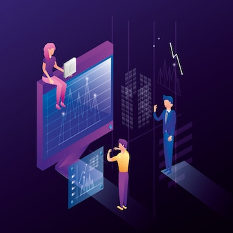 Ludzie biznesu z ikonami sieci centrum danych
