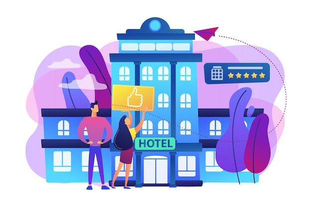 Ludzie biznesu z kciukiem do góry na ilustracji hotelu nowoczesny modny styl życia