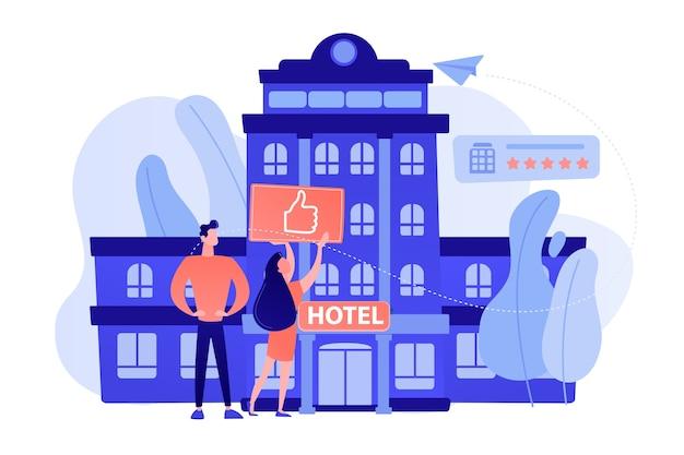 Ludzie biznesu z kciukiem do góry na nowoczesny modny hotel