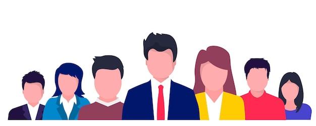 Ludzie biznesu z mowy dymki rozmawiają. koncepcja komunikacji, odnosząca się do informacji zwrotnej, recenzji i dyskusji. ludzie z myślami, rozmawiający.