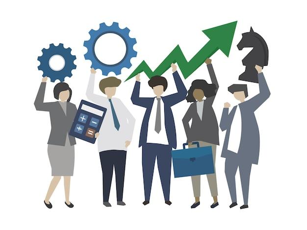 Ludzie biznesu z pojęciem strategii i rozwoju