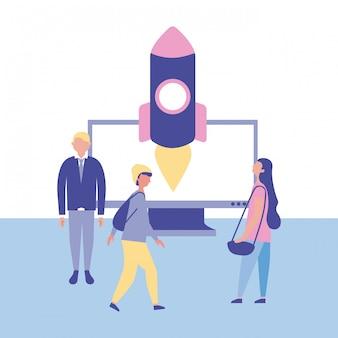 Ludzie biznesu z rakietą. koncepcja uruchomienia