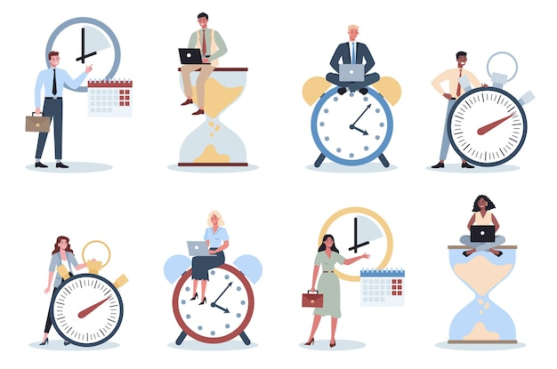 Ludzie biznesu z zestawem zegara. efektywność i planowanie pracy. wydajna koncepcja zarządzania czasem. planowanie zadań, sporządzanie harmonogramu tygodniowego.