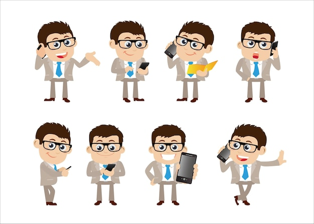 Ludzie biznesu za pomocą zestawu smartfonów