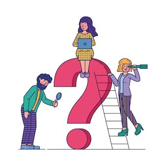Ludzie biznesu zadaje pytanie płaską wektorową ilustrację