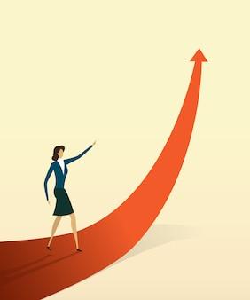 Ludzie biznesu ze strzałką idą ścieżką do celu lub celu