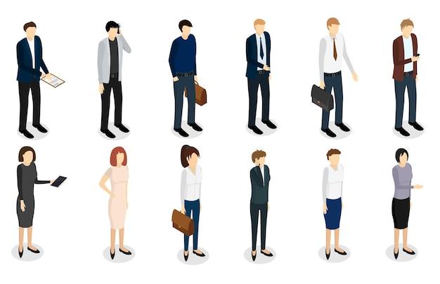 Ludzie biznesu zestaw widok izometryczny koncepcja pracy zawodowej zespołu szef i kierownik biura. ilustracja wektorowa